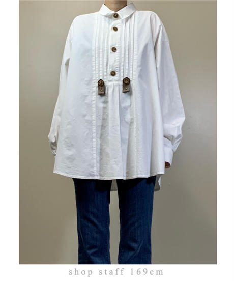 COUNTRY Line over size import white shirt-2166-9