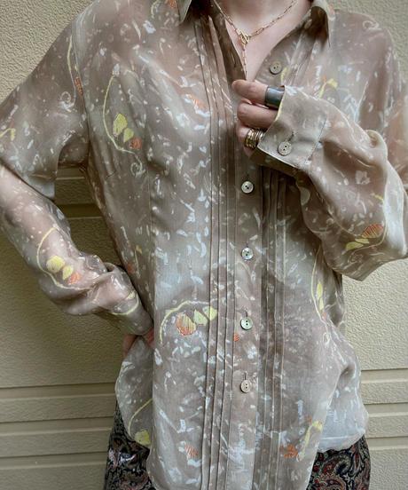 ville d'azur beige color sheer shirt-2142-9