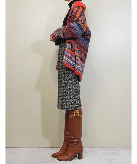 Orange color import knit cardigan-1607-1