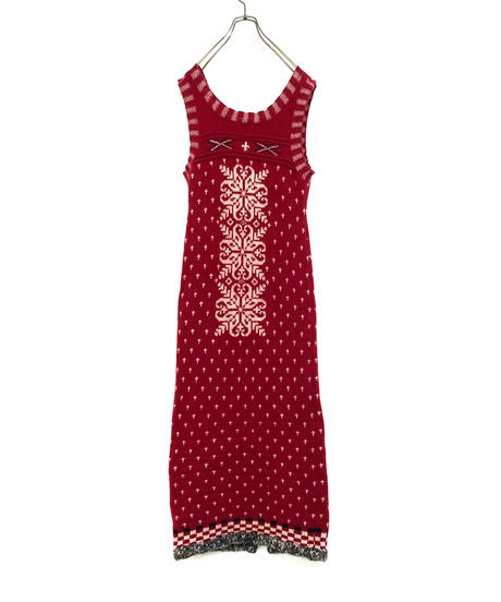Crystal of snow nordic pattern rétro knit  dress-1565-12