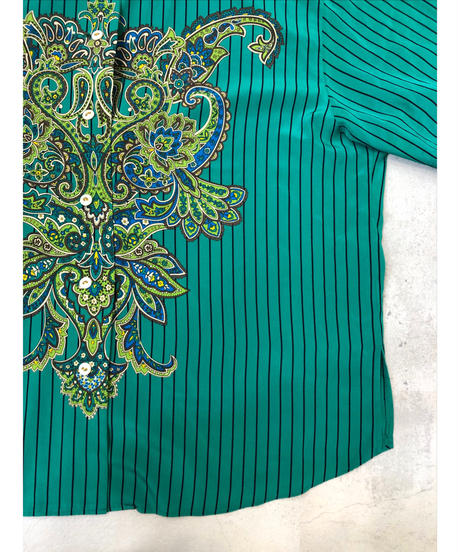 BRUNO PIRTTELLI green stripe shirt-1283-7