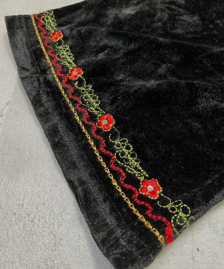 Embroidery design black velour import dress-2224-10