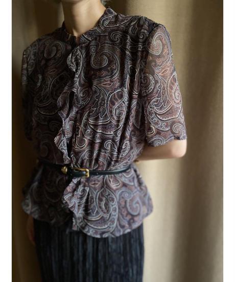 Leilian ORIGINAL brown frill tops-2053-7