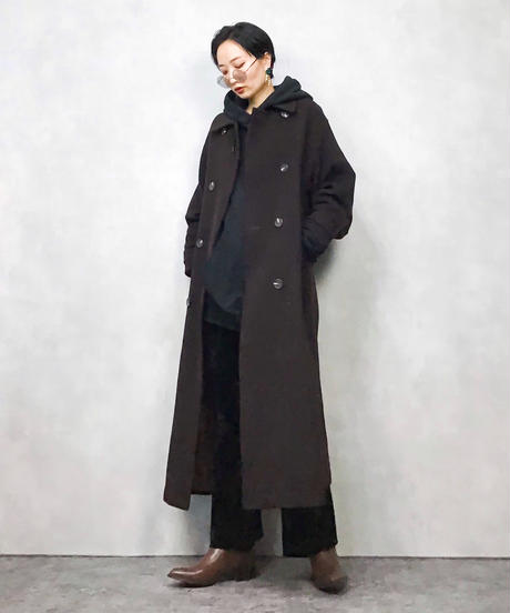 ISSUE brown double long coat-849-1