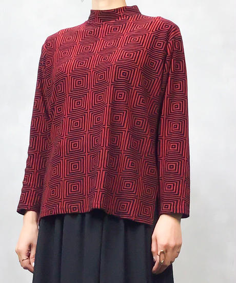 Square red high neck tops-830-1