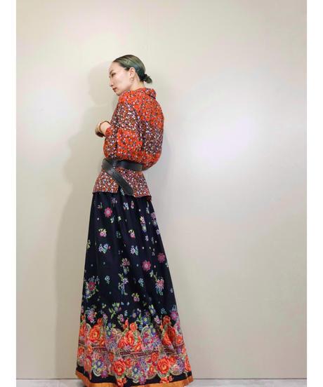 Exotic flower import volume maxi skirt-1887-5