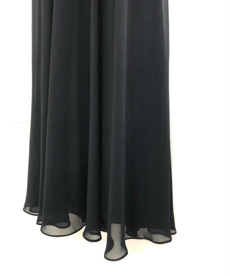 Talbots black chiffon drape maxi dress-1743-3