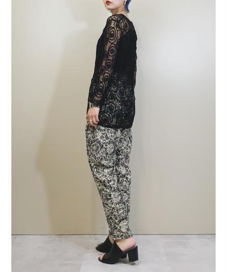 Artistic design black easy pants-1951-6