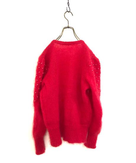 Bright red openwork knit cardigan-1609-1