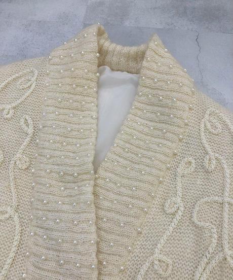 HAND EMB'D pearl design vintage knit cardigan-1693-2