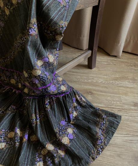 LUNA modelle rose design frill maxi skirt-2136-8