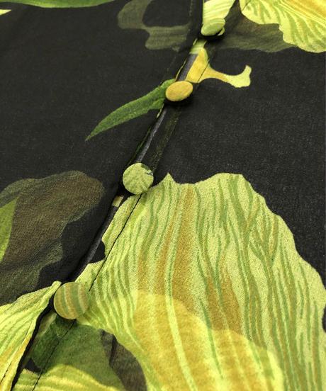 mystery yellow green flower sheer shirt-1938-6
