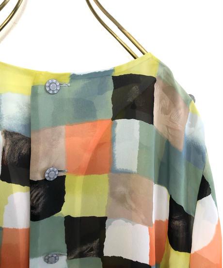BOUTIQUE DEUX block pattern sheer shirt-1975-6