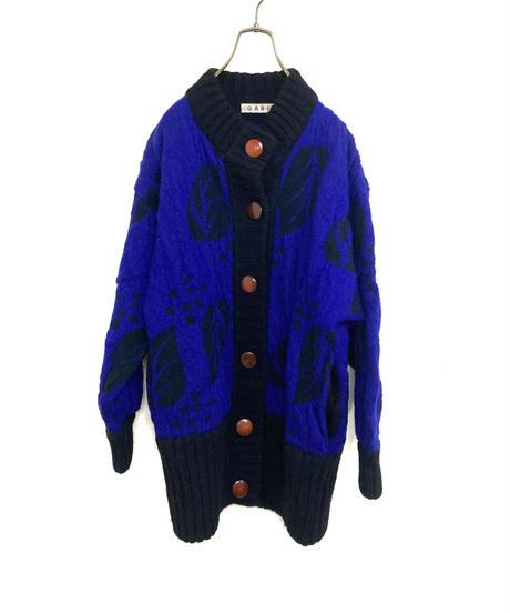 GABI leaf design over size knit cardigan-1540-12
