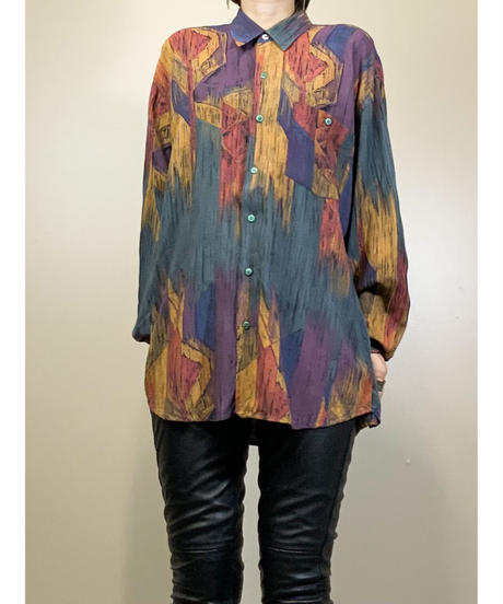 Artistic pattern dull color import shirt-1683-2
