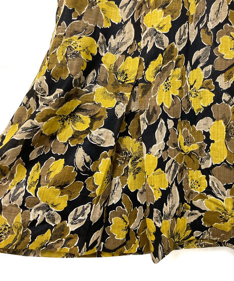yellow  flower  design peplum  dress-1965-6