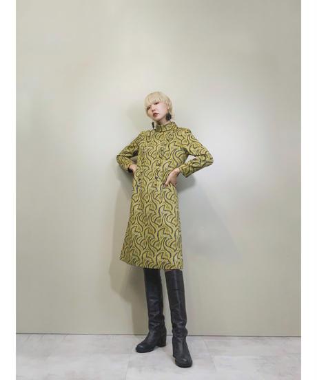 Ripples pattern turtle neck design yellow dress-1537-11