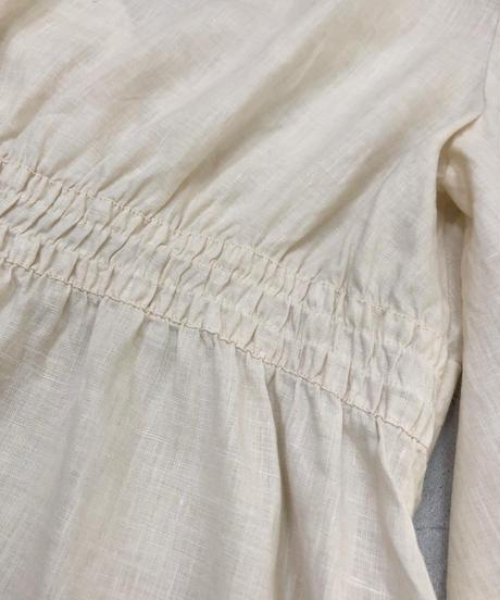 Openwork neck design linen tops-1735-3