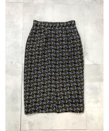 Gold leaf pattern classical design tight skirt-1574-12