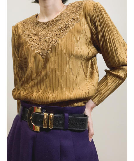 Gold pleated floral lace tops-1702-2