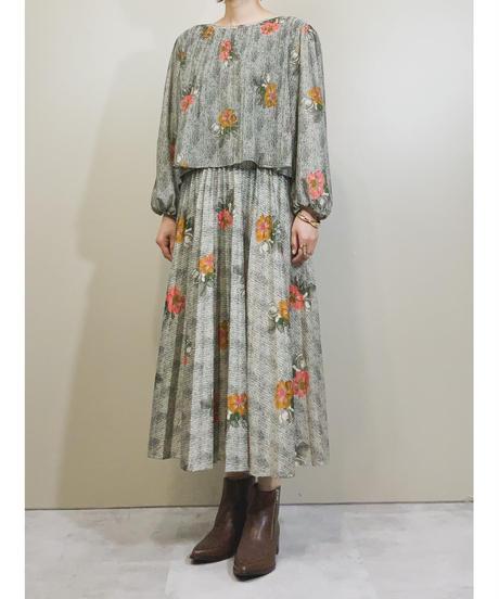 MADE IN U.S.A. pleated design flower dress-1752-3