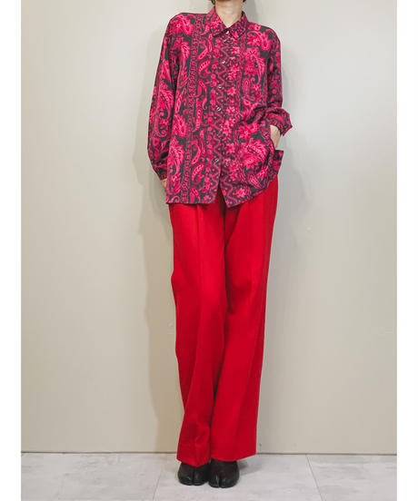 GEFION vivid pink color design long shirt-1514-11