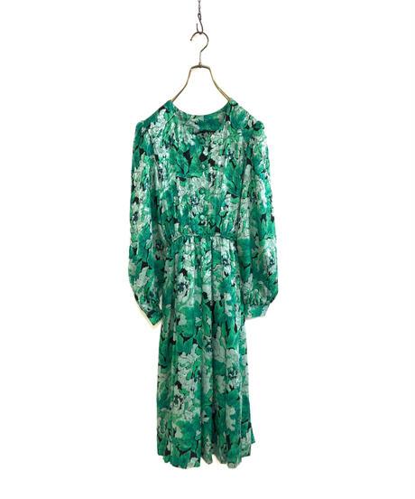 Green floral rétro medium dress-1784-3