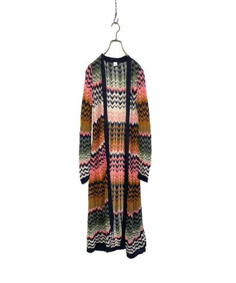 Chevron stripe design acrylic knit cardigan-2153-9