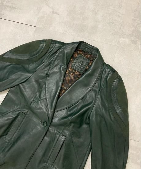 MADDOX dark green ram leather coat-1573-12