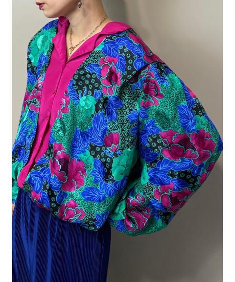 Tuck shoulder design satin shirt-2150-9
