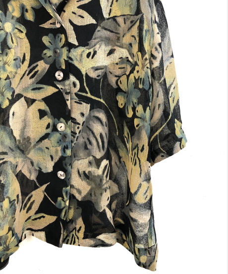 DUll coloor flower pattern see-through shirt-1270-7