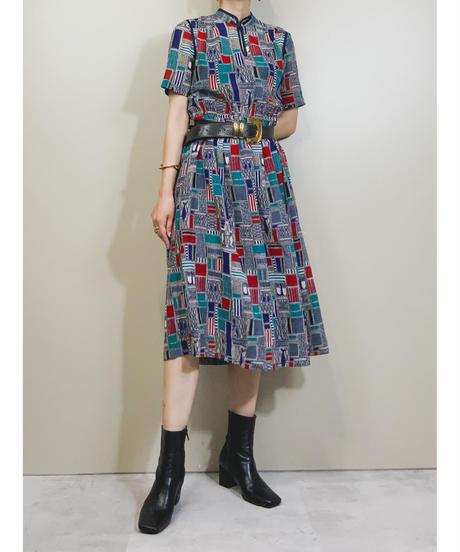 Turkey design stand neck rétro dress-1941-6