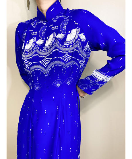 Jacquard fabric bright blue vintage slit dress-1778-3