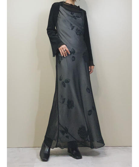 La Defence black sheer maxi dress-1776-3