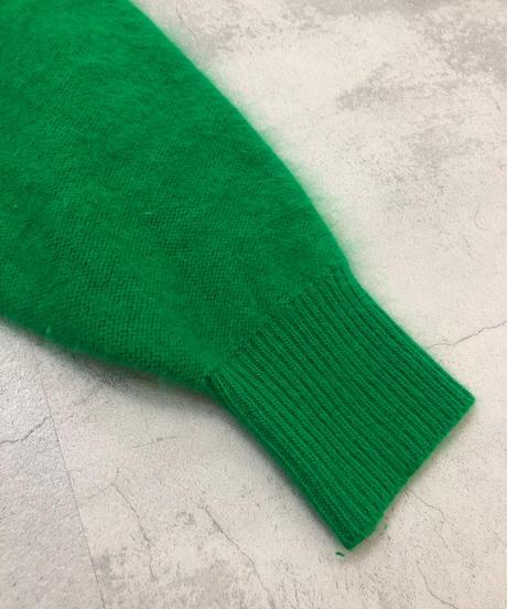 Flesh green  color flower design angola knit-1589-1