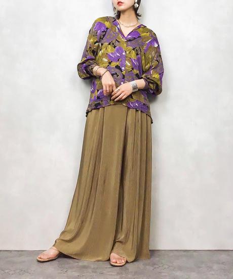 Leaf pattern lavender shirtjacket -484-8