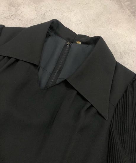 Big collar black plain rétro dress-1771-3