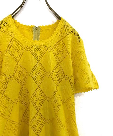 Yellow rétro summer knit-1196-6