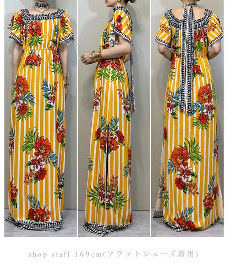Vivid hibiscus  design import maxi dress-2038-7