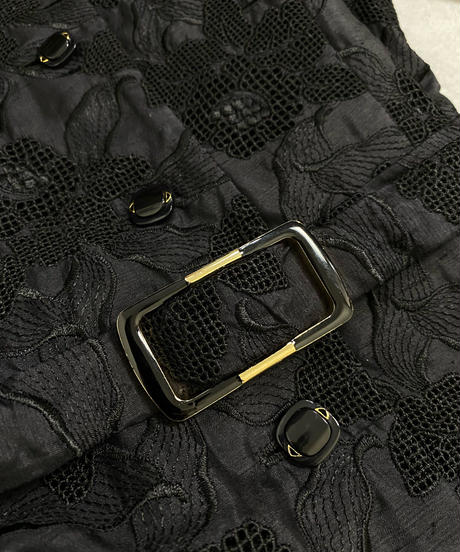 Floral lace design black rétro dress-2167-9