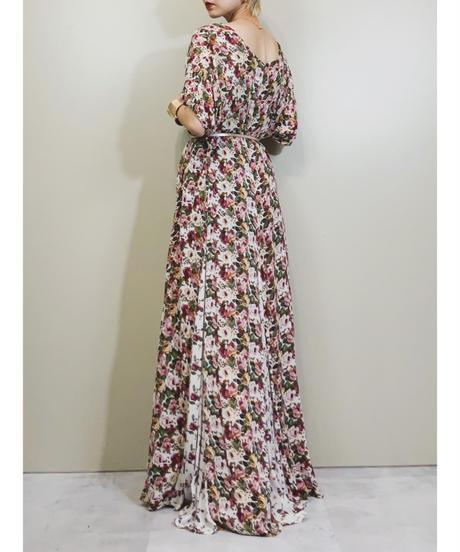 Crepe dough rose vintage dress-1204-6