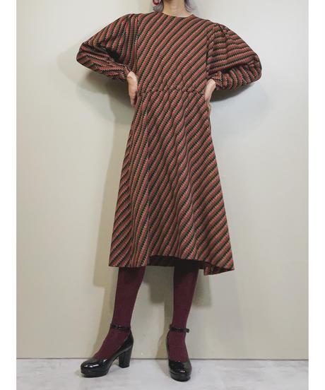 Warm color rétro flare dress-1596-1