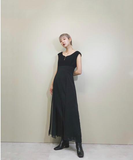 Carule chiffon fabric black dress-1694-2