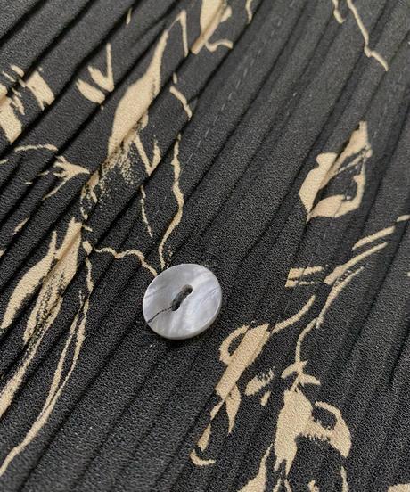 Pleated fabric exotic flower black set up-2041-7