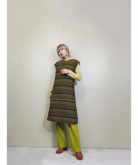 Primary color metal fittings tweed dress-1651-2