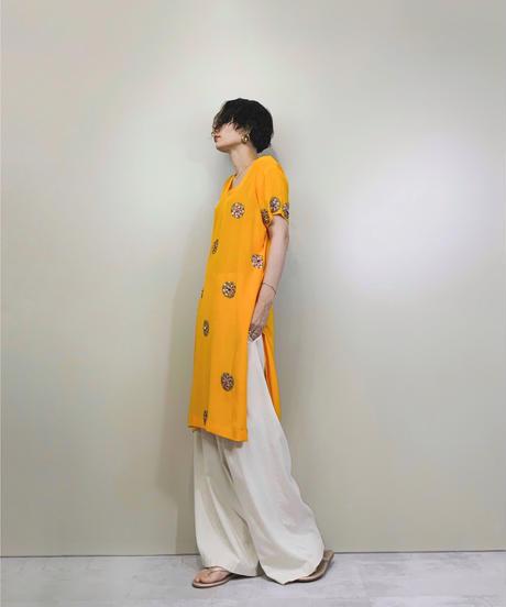 Metal  flower orange yellow vintage tunic-1311-8