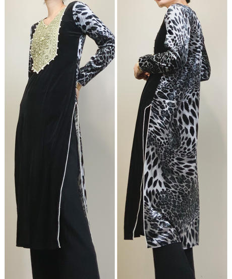 BABA POSH leopard design  ethnic dress-1526-11