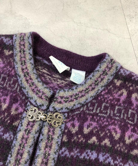 Purple color tyrolean long knit cardigan-1510-11