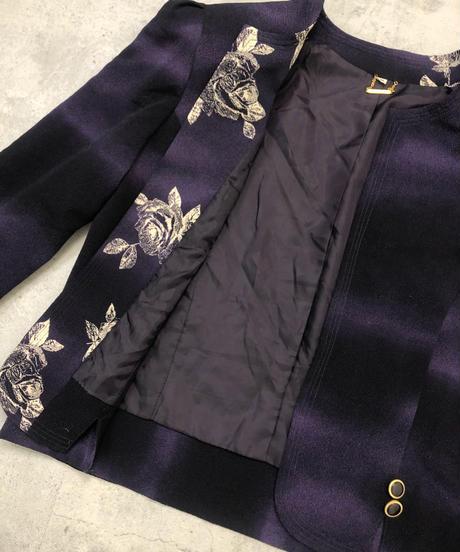 Hi-fashion gradation purple no collar  jacket-1630-1