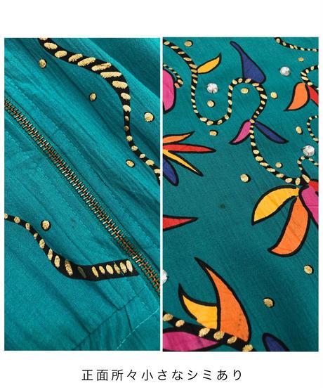 rafael zipper turquoise color vintage maxi dress-1755-3